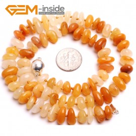 "G10371 3-5X10-12mm Heishi Rondelle Natural Yellow Jade Gemstone Beads Handmade Finished Jewelry Necklace 18"" Gemstone Birthstone Necklaces Fashion Jewelry Jewellery"