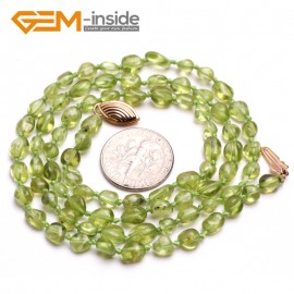 "G10379 6x8mm Freeform Potato Natural Green Peridot Beads Princess Necklace 20"" Fish Gold Filled Clasp Gemstone Birthstone Necklaces Fashion Jewelry Jewellery"