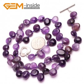 G10381 Freeform 8x10mm Natural Gemstone Amethyst Quartz Beads Handmade Long Pricess Necklace 19 Inches (adjustable)  | Gemstone Birthstone Necklaces Fashion Jewelry Jewellery
