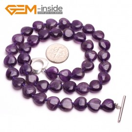 G10382 Heart shape 10mm Natural Gemstone Amethyst Quartz Beads Handmade Princess Necklace 18 Inches  | Gemstone Birthstone Necklaces Fashion Jewelry Jewellery