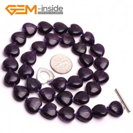 G10383 Heart 12mm Natural Gemstone Amethyst Quartz Beads Handmade Princess Necklace 18 Inches  | Gemstone Birthstone Necklaces Fashion Jewelry Jewellery