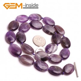 G10384 Oval 13x18mm Natural Gemstone Amethyst Quratz Beads Handmade Princess Necklace 18Inches  | Gemstone Birthstone Necklaces Fashion Jewelry Jewellery