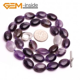 G10386 Oval 10x14mm Natural Gemstone Amethyst Quartz Beads Handmade Princess Necklace 18 Inches | Gemstone Birthstone Necklaces Fashion Jewelry Jewellery