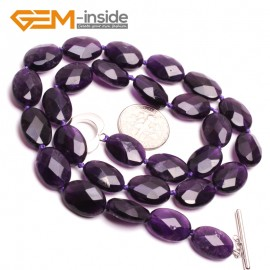 G10387 Oval 10x14mm Faceted Natural Gemstone Amethyst Quartz Beads Princess Necklace 18 Inches  | Gemstone Birthstone Necklaces Fashion Jewelry Jewellery