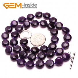 G10389 Round 10mm Natural Gemstone Amethyst Quartz Beads Handmade Pricess Necklace Jewelry 18 Inches | Gemstone Birthstone Necklaces Fashion Jewelry Jewellery