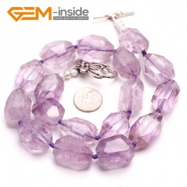 G10390 Freeform Carved 16x20mm Natural Gemstone Amethyst Quartz Beads Handmade Princess Necklace 18 Inches  | Gemstone Birthstone Necklaces Fashion Jewelry Jewellery