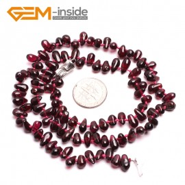 "G10392 Drop 5x8mm Natural Red Gemstone Garnet Gemstone Necklace 18""  Birthstone Necklaces Fashion Jewelry Jewellery"