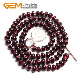 "G10393 Rondelle Smooth 4x7mm Natural Red Garnet Gemstone Necklace 20"" long necklace for women Birthstone Necklaces Fashion Jewelry Jewellery"