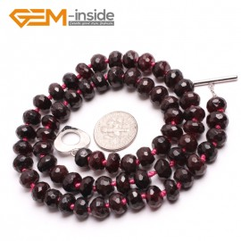 """G10394 Rondelle Faceted 5x8mm Natural Garnet Beads Handmade Gemstone Necklace 17"""" Birthstone Necklaces Fashion Jewelry Jewellery"""
