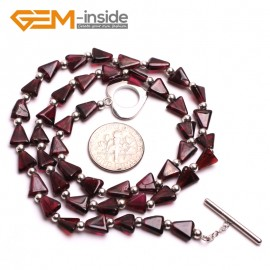 "G10399 Trapezoid 6mm Red Natural Garnet Gemstone Necklace17""  Birthstone Necklaces Fashion Jewelry Jewellery"