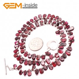 "G10400 Freeform 4x8mm Natural Red Gemstone Garnet Necklace 17"" Gemstone Birthstone Necklaces Fashion Jewelry Jewellery"