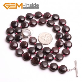 "G10402 Coin 10mm Natural Red Garnet Gemstone Beads Handmade Necklace 17"" Gemstone Birthstone Necklaces Fashion Jewelry Jewellery"