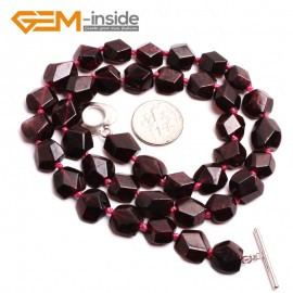 "G10404 Freeform Faced Carved 10mm Natural Red Garnet Gemstone Beads Handmade princess Necklace 18"" Gemstone Birthstone Necklaces Fashion Jewelry Jewellery"
