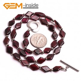 "G10410 Diagonal 8x10mm Natural Red Garnet Gemstone Beads Handmade chocker Necklace 16"" Gemstone Birthstone Necklaces Fashion Jewelry Jewellery"