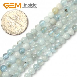 G1263 4mm Mixed-color Smooth 1pc Aquamarine Round Gemstone Bead ,Smooth Faceted Quantity Color Size Selectable Natural Stone Beads for Jewelry Making Wholesale