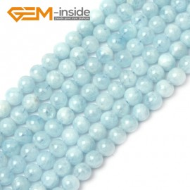 G1266 6mm Blue Smooth 1pc Aquamarine Round Gemstone Bead ,Smooth Faceted Quantity Color Size Selectable Natural Stone Beads for Jewelry Making Wholesale