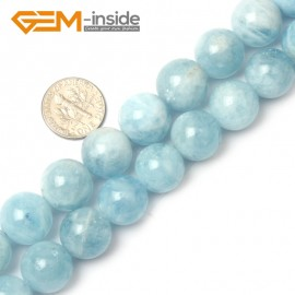 G1272 14-15mm Blue / Smooth 5pcs Aquamarine Round Gemstone Bead ,Smooth Faceted Quantity Color Size Selectable Natural Stone Beads for Jewelry Making Wholesale