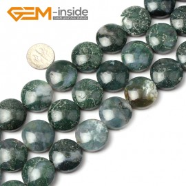 G1274 Natural Green Moss Agate  20mm Coin Stone Loose Beads strand Free Shipping Natural Stone Beads for Jewelry Making Wholesale