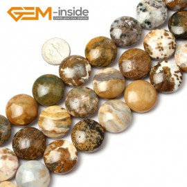 G1275 Natural multicolor Ocean Agate  Jasper 20mm Coin Stone Loose Beads strand Free Shipping Natural Stone Beads for Jewelry Making Wholesale