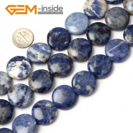 G1284 Natural Blue Sodalite 20mm Coin Stone Loose Beads strand Free Shipping Natural Stone Beads for Jewelry Making Wholesale