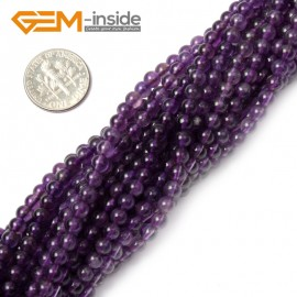 "G1409 4mm Round Natural Amethyst Birthstone Gemstone Tiny Jewelry Making Loose Spacer Beads Strand 15"" Natural Stone Beads for Jewelry Making Wholesale"