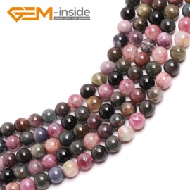 "G15026 14mm Natural Round Mixed Color Tourmaline Gemstone Jewelry Making Loose Beads 15""Natural Stone Beads for Jewelry Making Wholesale`"