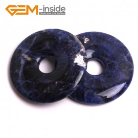G15044 Sodalite (40mm)  Natural Ring Lucky Buckle Beads For Earrings and Pendants 1 pcs 30 40 50mm Pick Pendants Fashion Jewelry Jewellery