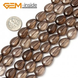 "G1788 10x14mm Drop Gemstone Smooth Faceted Smoky Quartz Jewelry Making Loose Beads 15"" Natural Stone Beads for Jewelry Making Wholesale"