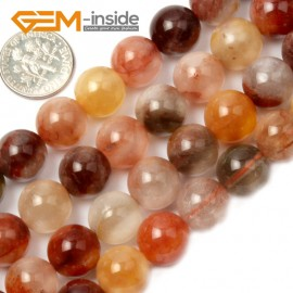 """G2114 12mm Round Mixed Color Quartz Stone Loose Beads Strand 15"""" Natural Stone Beads for Jewelry Making Wholesale"""