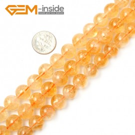 "G2369 11mm Natural Round Gemstone Yellow Citrine Beads Jewelry Making Stone Loose Beads 15"" Natural Stone Beads for Jewelry Making Wholesale"