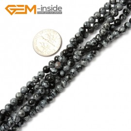 "G2408 4mm Round snowflake obsidian Gemstone Tiny Jewelry Making Loose Spacer Beads Strand 15"" Natural Stone Beads for Jewelry Making Wholesale"