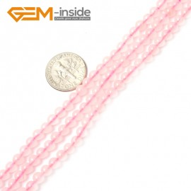 "G2414 4mm Natural Rose Pink Quartz Round Gemstone Tiny Jewelry Making Loose Spacer Beads Strand 15"" Natural Stone Beads for Jewelry Making Wholesale"