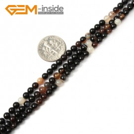 """G2428 4mm Round Black Sardonyx agate Gemstone Tiny Loose Spacer Beads Strand 15"""" Natural Stone Beads for Jewelry Making Wholesale"""