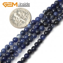 """G2434 4mm Natural Blue Sodalite Round Gemstone Tiny Jewelry Making Loose Spacer Beads Strand 15"""" Natural Stone Beads for Jewelry Making Wholesale"""