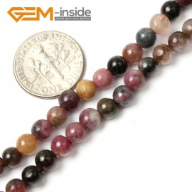 "G2445 4mm Natural Mixed Color Tourmaline Stone Round Gemstone Tiny Jewelry Making Loose Spacer Beads Strand 15"" Natural Stone Beads for Jewelry Making Wholesale"