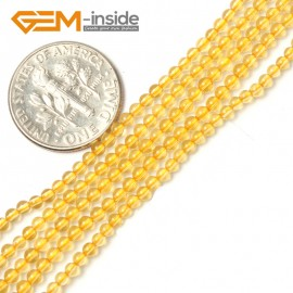 "G2452 2mm Dyed Citrine Round Gemstone Tiny Jewelry Making Loose Spacer Beads Strand 15"" Natural Stone Beads for Jewelry Making Wholesale"