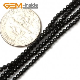 "G2460 2mm Natural Black Agate Round Gemstone Tiny Jewelry Making Loose Spacer Beads Strand 15"" Natural Stone Beads for Jewelry Making Wholesale"