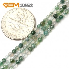 "G2463 2mm Natural Moss Agate Green Round Gemstone Tiny Jewelry Making Loose Spacer Beads Strand 15"" Natural Stone Beads for Jewelry Making Wholesale"