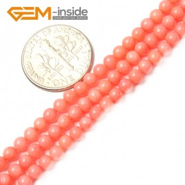 "G2482 3mm Pink Coral Round Gemstone Tiny Jewelry Making Loose Spacer Beads Strand 15"" Natural Stone Beads for Jewelry Making Wholesale"