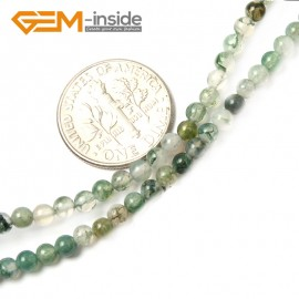 "G2485 3mm Natural Moss Tree Aagte Stone Round Gemstone Tiny Jewelry Making Loose Spacer Beads Strand 15"" Natural Stone Beads for Jewelry Making Wholesale"