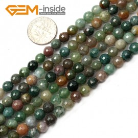 """G2519 6mm Round Faceted Gemstone Indian Agate Stone Beads Loose Beads Strand 15"""" Natural Stone Beads for Jewelry Making Wholesale"""