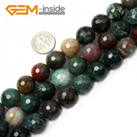 """G2523 14mm Round Faceted Gemstone Indian Agate Stone Beads Loose Beads Strand 15"""" Natural Stone Beads for Jewelry Making Wholesale"""