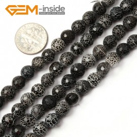 "G2578  7mm  Natural Crackled Round Faceted Black Agate Loose Beads Gemstone Strands 15""  Natural Stone Beads for Jewelry Making Wholesale"