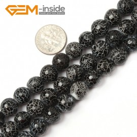 "G2579  10mm  Natural Crackled Round Faceted Black Agate Loose Beads Gemstone Strands 15""  Natural Stone Beads for Jewelry Making Wholesale"