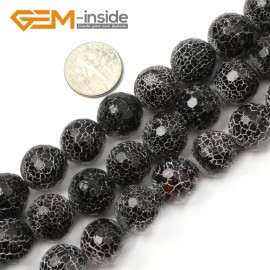 "G2581  14mm  Natural Crackled Faceted Round Black Agate Loose Beads Gemstone Strands 15""  Natural Stone Beads for Jewelry Making Wholesale"