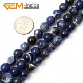 """G2602 8mm Natural Round Blue Sodalite Gemstone Loose Beads Strand 15"""" Natural Stone Beads for Jewelry Making Wholesale"""