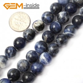 """G2603 10mm Natural Round Blue Sodalite Beads Gemstone Loose Beads Strand 15"""" Natural Stone Beads for Jewelry Making Wholesale"""