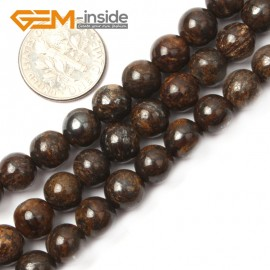 "G2630 8mm Round Gemstone Natural Bronzite Stone Beads Loose Beads Strand15"" Natural Stone Beads for Jewelry Making Wholesale"