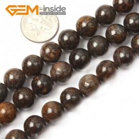 "G2631 10mm Round Gemstone Natural Bronzite Stone Beads Loose Beads Strand15"" Natural Stone Beads for Jewelry Making Wholesale"