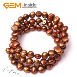 G2867 6-8mm Brown Cultured Pearl Linking Jewelry Bracelet Adjustable Fashion Jewelry Jewellery Bracelets  for Women